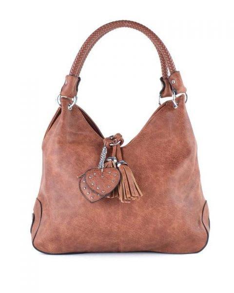 Tas Hearts Tassle bruin bruine dames handtassen schoudertassen kunstleder hartjes kwastje kopen