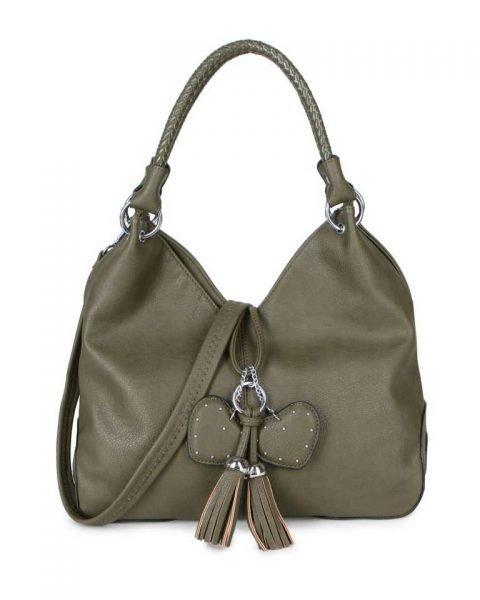 Tas Hearts Tassle groen groen dames handtassen schoudertassen kunstleder hartjes kwastje kopen