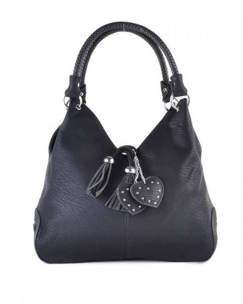 Tas Hearts Tassle zwart zwarte dames handtassen schoudertassen kunstleder hartjes kwastje kopen