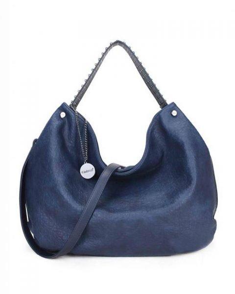 Tas Tassle Studs blauw blauwe ruime dames tasssen chique trendy schoudertassen met kwastje & studs hengsel fashion bags kopen bestellen
