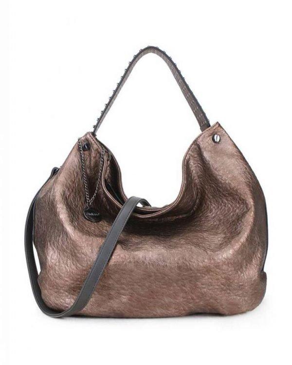 Tas Tassle Studs goud bruin bruine metallic ruime dames tasssen chique trendy schoudertassen met kwastje & studs hengsel fashion bags kopen bestellen