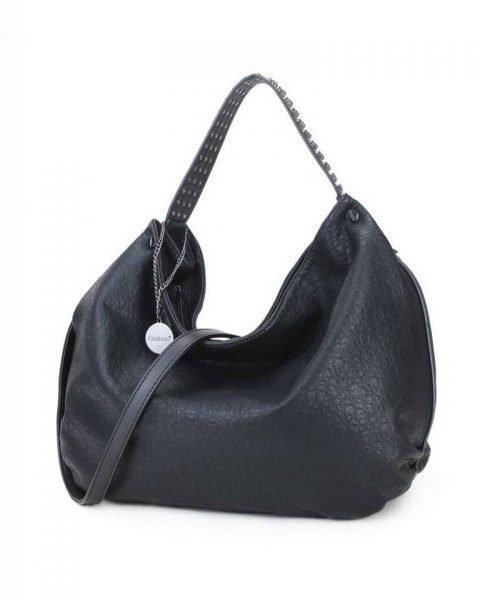Tas Tassle Studs zwart zwarte ruime dames tasssen chique trendy schoudertassen met kwastje & studs hengsel fashion bags kopen bestellen