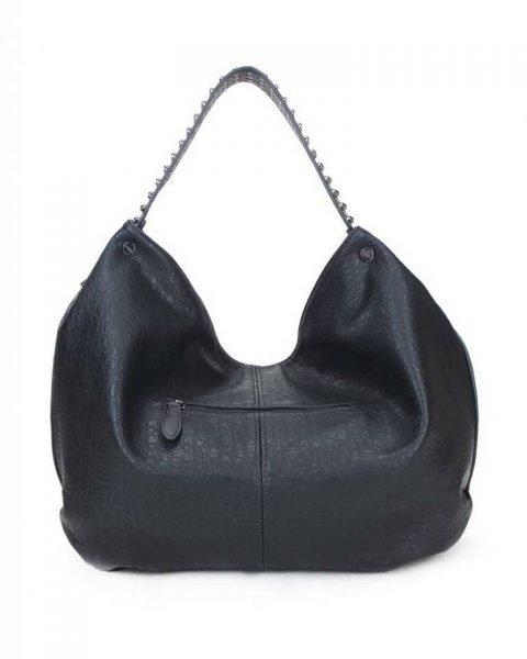 Tas Tassle Studs zwart zwarte ruime dames tasssen chique trendy schoudertassen met kwastje & studs hengsel fashion bags kopen bestellen achter