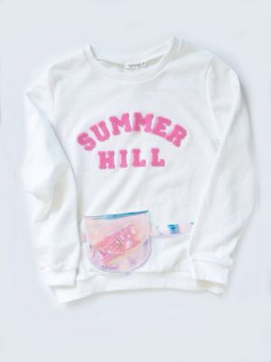 Witte Sweater Summer Hill wit dames trui roze pink tekst print hippe fashion zomer sweaters festival online heuptas