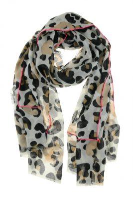 sjaal-Leopard neon lines wit witte sjaals dames zomer sjaaltjes panter print viscose katoen printsjaals