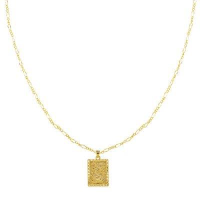 Ketting Chinese Dragon goud gouden gold plated dames kettingen vierkante munt bedel lange dunne necklages online bestellen fashion