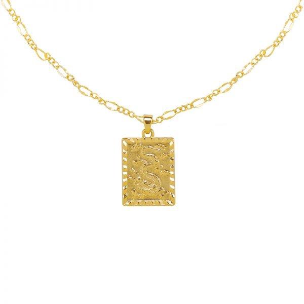 Ketting Chinese Dragon goud gouden gold plated dames kettingen vierkante munt bedel lange dunne necklages online bestellen fashion detail