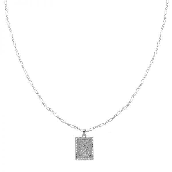 Ketting Chinese Dragon zilver zilveren gold plated dames kettingen vierkante munt bedel lange dunne necklages online bestellen fashion
