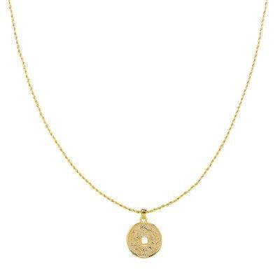 Ketting Mythological Coin goud gouden gold plated dames kettingen munt bedel lange dunne necklages online bestellen fashion