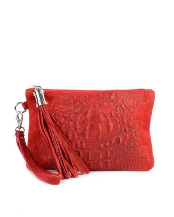 Leren Clutch Kroko Love rood rode croco lederen leer clutches schoudertassen met kwastje ritssluiting musthave leren tassen bestellen