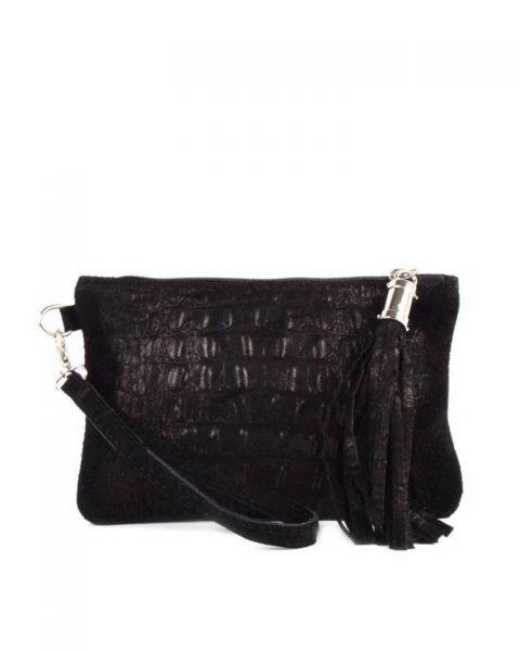Leren Clutch Kroko Love zwart zwarte croco lederen leer clutches schoudertassen met kwastje ritssluiting musthave leren tassen bestellen