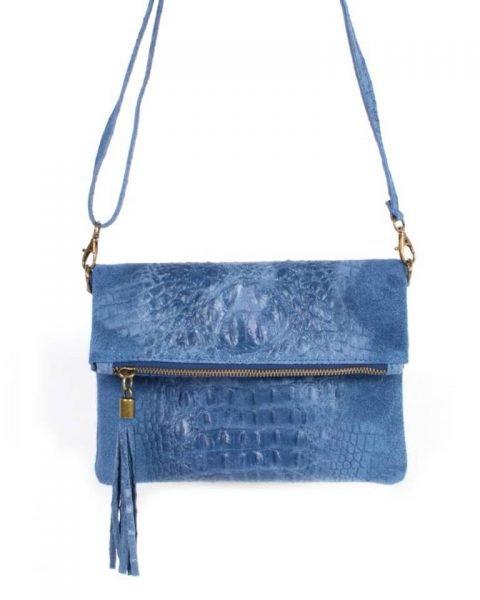 Leren Kroko Clutch Must licht baby blauw blauwe lederen leer clutches schoudertassen met kwastje ritssluiting musthave leren tassen bestellen