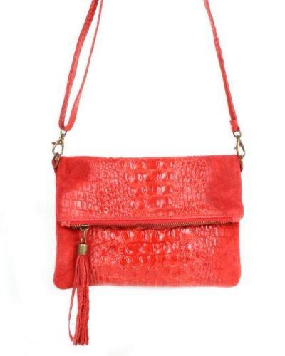 Leren Kroko Clutch Must rood rode lederen leer clutches schoudertassen met kwastje ritssluiting musthave leren tassen bestellen