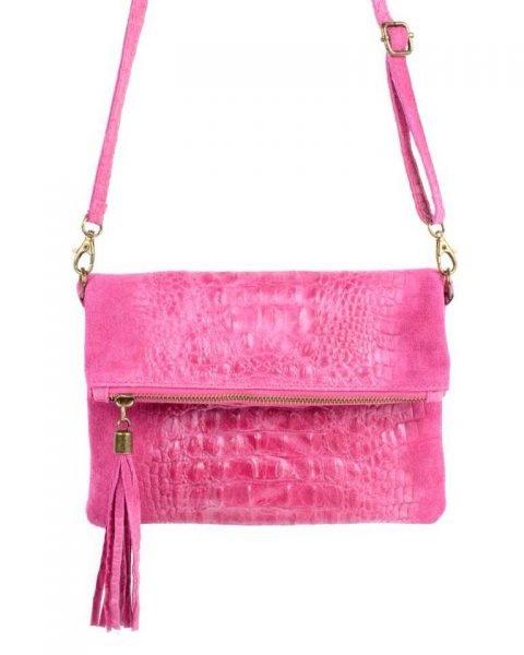 Leren Kroko Clutch Must roze pink fuchsia lederen leer clutches schoudertassen met kwastje ritssluiting musthave leren tassen bestellen