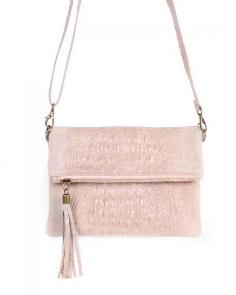 Leren Kroko Clutch Must roze pink lederen leer clutches schoudertassen met kwastje ritssluiting musthave leren tassen bestellen