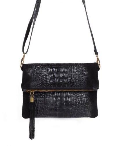 Leren Kroko Clutch Must zwart zwarte lederen leer clutches schoudertassen met kwastje ritssluiting musthave leren tassen bestellen