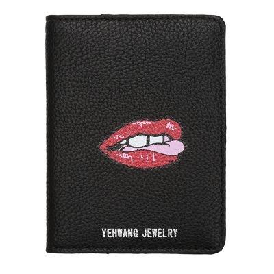 Paspoorthoesje Lips zwart zwarte paspoorthoes paspoorthouder met lippen print fashion portemonee online kopen