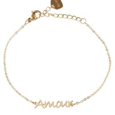 RVS Armband Amour rose dames armbanden bracelet tekst liefde dunne damesarmbandjes online kopen roestvrij staal