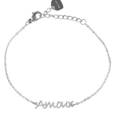 RVS Armband Amour zilver zilveren dames armbanden bracelet tekst liefde dunne damesarmbandjes online kopen roestvrij staal