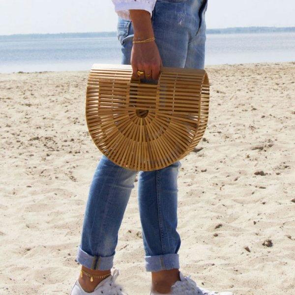 Rattan Tas Half Moon bruin bruine halve ronde rieten tassen beachbag rotan bamboe bags online musthave fashion kopen