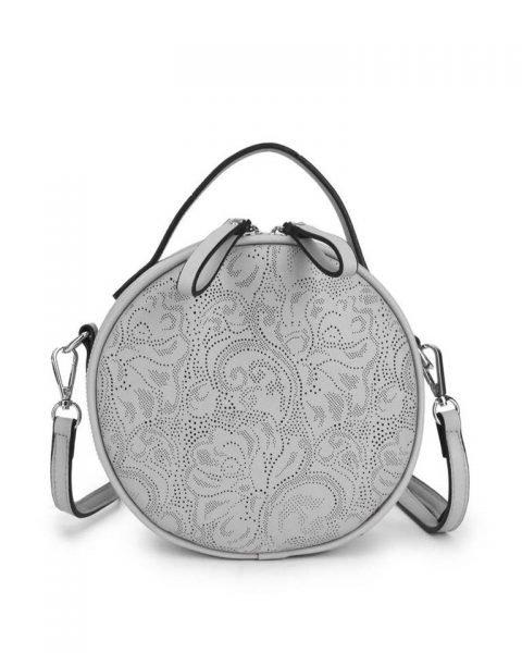 Ronde Schoudertas Classy grijs grijze kleine ronde schoudertassen kant motief print musthave zomer tassen bags dames online giuliano