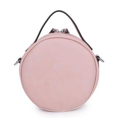 Ronde Schoudertas Classy roze pink kleine ronde schoudertassen kant motief print musthave zomer tassen bags rits dames online giuliano achterkant