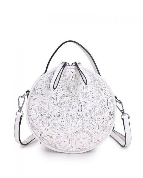 Ronde Schoudertas Classy wit witte kleine ronde schoudertassen kant motief print musthave zomer tassen bags dames online giuliano
