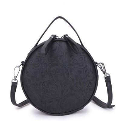 Ronde Schoudertas Classy zwart zwarte kleine ronde schoudertassen kant motief print musthave zomer tassen bags dames online giuliano