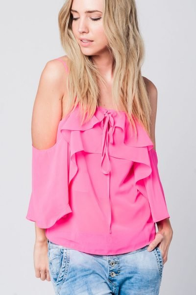 Roze Topje Mila pink dames tops ruches strappless zomer truitjes dames online modemusthaves fashion