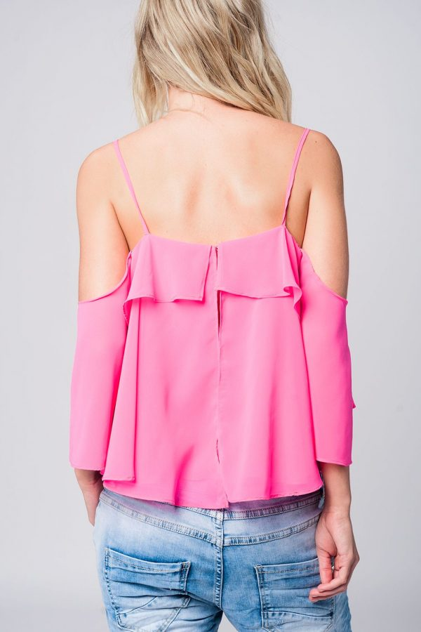 Roze Topje Mila pink dames tops ruches strappless zomer truitjes dames online modemusthaves fashion achterkant