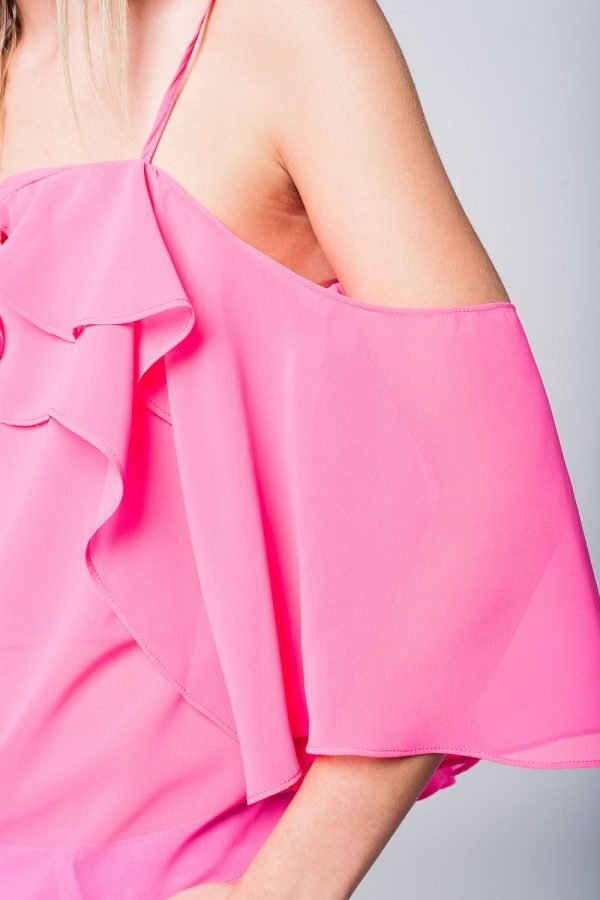Roze Topje Mila pink dames tops ruches strappless zomer truitjes dames online modemusthaves fashion details
