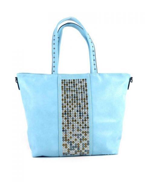 Shopper Shiny Studs blauw blauwe bags grote shoppers met goud en zilveren studs tassen tas online kopen giuliano