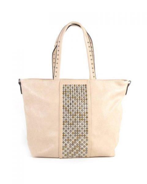 Shopper Shiny Studs creme beige bags grote shoppers met goud en zilveren studs tassen tas online kopen giuliano