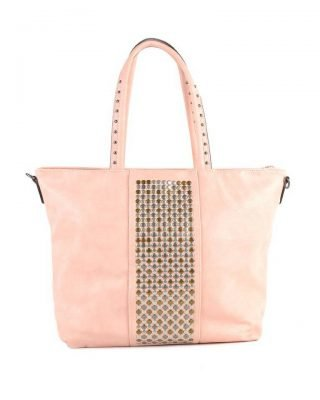 Shopper Shiny Studs roze pink bags grote shoppers met goud en zilveren studs tassen tas online kopen giuliano