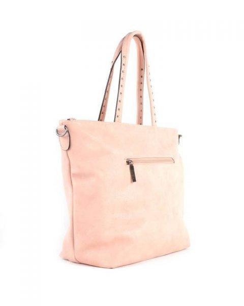 Shopper Shiny Studs roze pink bags grote shoppers met goud en zilveren studs tassen tas online kopen giuliano zijkant