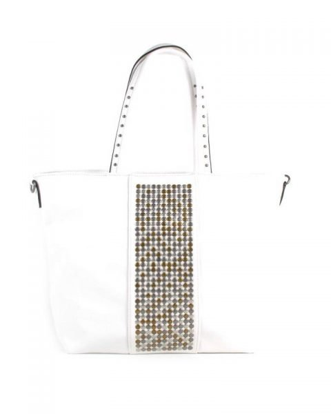 Shopper Shiny Studs wit witte bags grote shoppers met goud en zilveren studs tassen tas online kopen giuliano