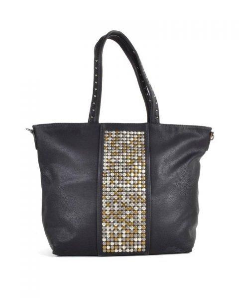 Shopper Shiny Studs zwart zwarte grote shoppers met goud en zilveren studs tassen tas online kopen giuliano