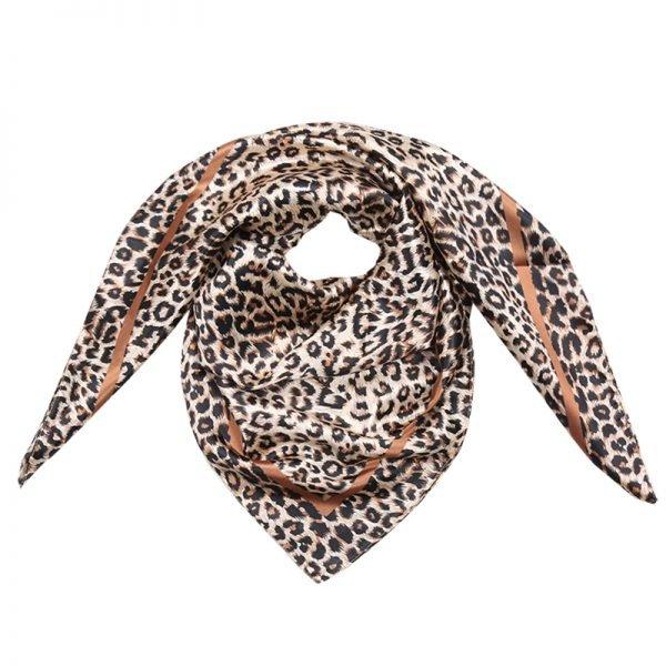 Sjaaltje Sweet Animal musthave-dames-sjaaltjes-kleine-met leopard panter print en bruine satijnen-gekleurde-haar-accessoires-scarfs-