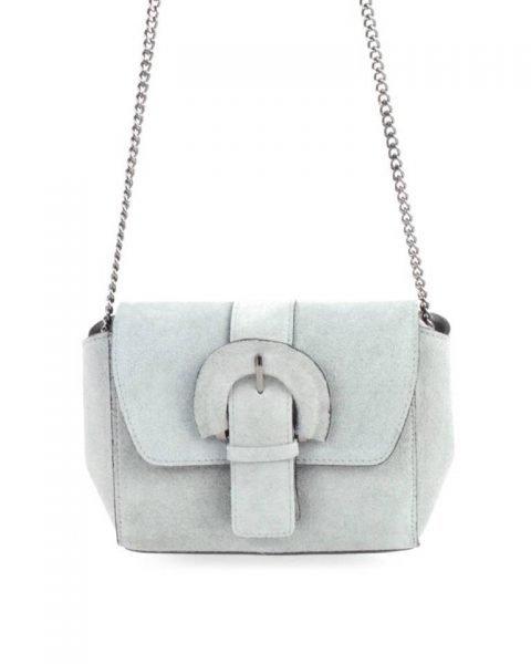 Suede Schoudertas Love grijs grijze leren giulino tassen zilveren kettinghengsel look a like bags goedkope dames tassen online