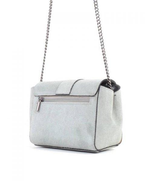 Suede Schoudertas Love grijs grijze leren giulino tassen zilveren kettinghengsel look a like bags goedkope dames tassen online achter