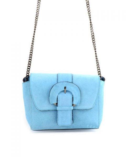 Suede Schoudertas Love licht blauw blauwe leren giulino tassen zilveren kettinghengsel look a like bags goedkope dames tassen online