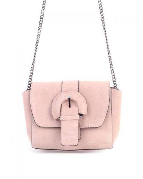Suede Schoudertas Love roze pink leren giulino tassen zilveren kettinghengsel look a like bags goedkope dames tassen online achter