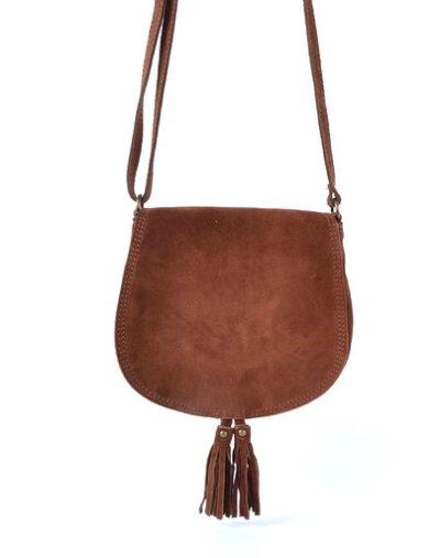 Suede Schoudertas Tassles bruin bruine suede tassen klosjes festival tasjes kleine tassen online bestellen
