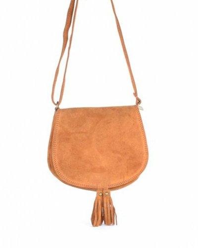 Suede Schoudertas Tassles cognac camel suede tassen klosjes festival tasjes kleine tassen online bestellen