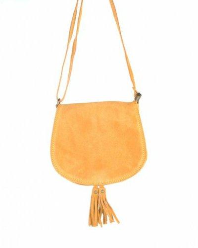 Suede Schoudertas Tassles oker geel suede tassen klosjes festival tasjes kleine tassen online bestellen