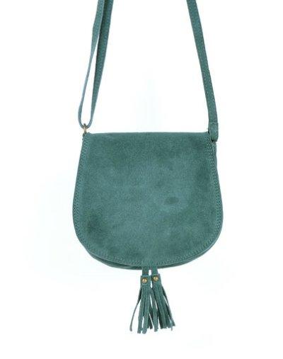 Suede Schoudertas Tassles petrol groen suede tassen klosjes festival tasjes kleine tassen online bestellen