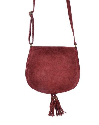 Suede Schoudertas Tassles rood rode suede tassen klosjes festival tasjes kleine tassen online bestellen