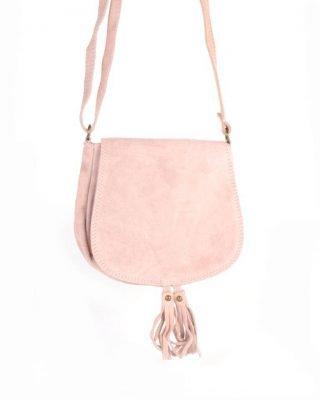 Suede Schoudertas Tassles roze pink leren suede tassen klosjes festival tasjes kleine tassen online bestellen giuliano