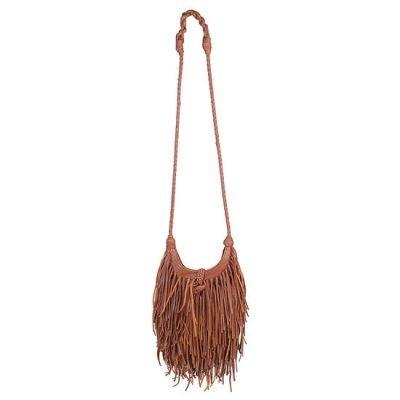 Tas Happy Fringe cognac bruin bruine camel tassen franjes ibiza suedine schoudertassen dames online musthave fashion