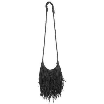 Tas Happy Fringe zwart zwarte tassen franjes ibiza suedine schoudertassen dames online musthave fashion